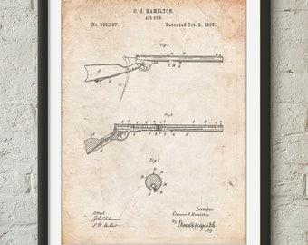 Air Rifle Patent Art, BB Gun, Air Rifle, Boys Room Decor, PP0777