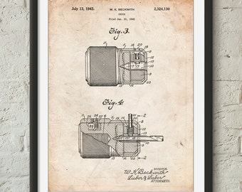 Drill Chuck 1943 Patent Poster, Woodworking Tools, Tools Poster, Man Cave, Handyman, PP0787