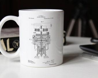 Tesla Electric Generator Mug, Tesla Patent, Tesla Mug, Tesla Mug PP0463