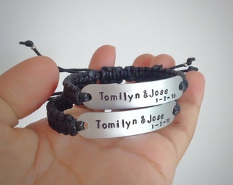 Couple bracelet, Anniversary gift,Personalized bracelet,Hand stamped bracelet,Name bracelet, Adjustable bracelet, Customized yours