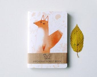 fox sketchbook A6 Fox notebook Fox stationary Animal sketchbook Animal notebook Forest stationary Cute fox Fox paper goods Fox gift Red fox