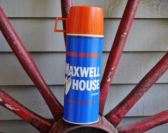 vintage Maxwell House Coffee Thermos. King-Seeley Thermos Brand. Blue and Orange. Vintage advertising, vintage logo. Good To The Last Drop.