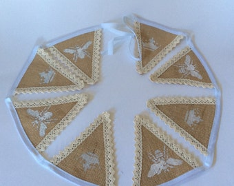 Handmade  bunting unique with lace edges to the burlap flags hand stencilled wall art decor