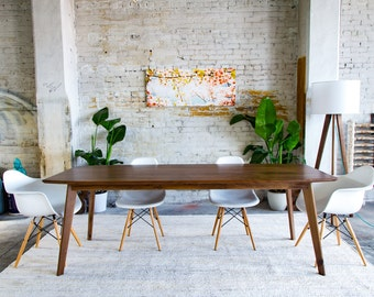 Mid Century Dining Table Modern Walnut