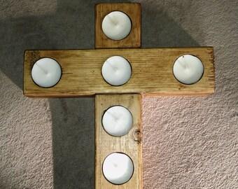 wooden cross tealight candle holder