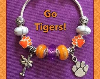Clemson University Tigers European Style Charm Bracelet