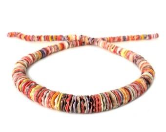 Multicolored Graduated Pectin Shell Heishi Beads (16 Inches Strand)