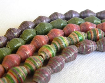 Paper Bead Jewelry Supplies - Paper Beads - Hand painted - Lot of 50 - #655