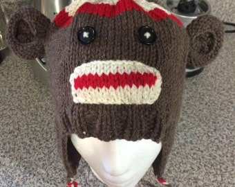 Hand Knit Sock Monkey Hat and Scarf Set