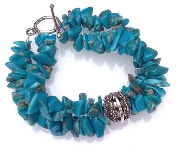 Turquoise Bracelet, Turquoise Chips Bracelet, Sleeping Beauty Turquoise Bracelet, Double-Strand Bracelet