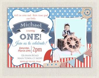Boys Nautical Theme 1st Birthday Invitation / Printable Download / First Birthday Photo Invitation Invites Red and Blue Sail Boat