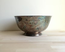 Vintage Paul Revere style silver plated footed bowl /Vintage Silver Trophy Bowl