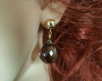 Pair of 14K Yellow Gold Smokey Quartz Earrings. Free Shipping in the U.S.
