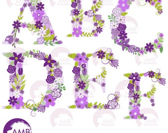 Floral Alphabet Clipart, Shabby Chic Alphabet, Purple Floral letters Clipart, A to F, Wedding Clipart, Commercial Use, AMB-1218
