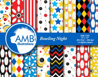 Bowling Night Digital Papers, Bowling Tournament, Bowling Birthday Party Papers, commercial use, AMB-1285