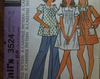 McCalls 3524, size 12, dress or top, misses, sewing pattern, craft supplies,