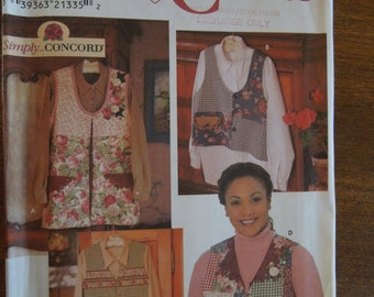 Simplicity 8034, crafts, vests, lined or unlined, sizes L, XL, misses, womens, UNCUT sewing pattern, craft supplies