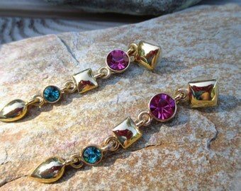 Napier Turquoise and Pink Crystal Drop Earrings