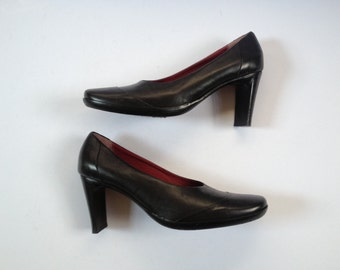 Black Heeled Pumps. Black Leather Heels. Round Toe Heels. Black Pumps. Round Toe Pumps. Black Leather Pumps. US 6.5 UK 4.5  EUR 37.5