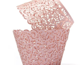 12 Vine - Pink - Lace cupcake liners / wrappers - Fits Standard Cupcake Wrappers - CCW367