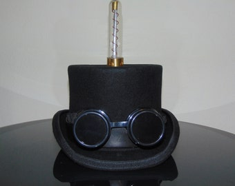 Steampunk Tesla Tube Goggles Top Hat