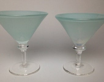 Set Of Hand Blown Martini Glasses
