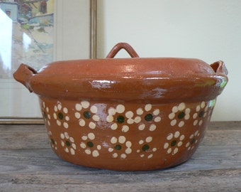 Mexican terra cotta pottery casserole, Covered casserole, Mexican hand painted covered serving dish, Mexican Casserole