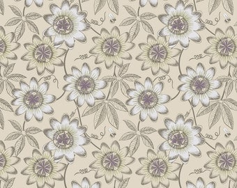 The Botanist A124-1 Natural passion flower Lewis & Irene Patchwork Quilting Fabric
