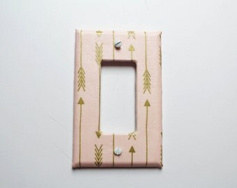 Pink Gold Arrow Light Switch Cover Rocker Style Tribal Shabby Cottage Chic Girls Room Decor Baby Nursery Switchplate Light Plate Kids