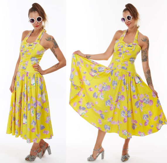 Vtg 80s HALTER Top Tropical Floral Resort Full Sweeping Maxi DRESS Boho Statement Pin Up Rockabilly Swing Goddess Gypsy Festival Kitschy mod