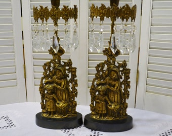 Girandole Candelabra Set of 2 Woman and Girl Brass with Crystal Prisms Antique Candlestck Holder PanchosPorch