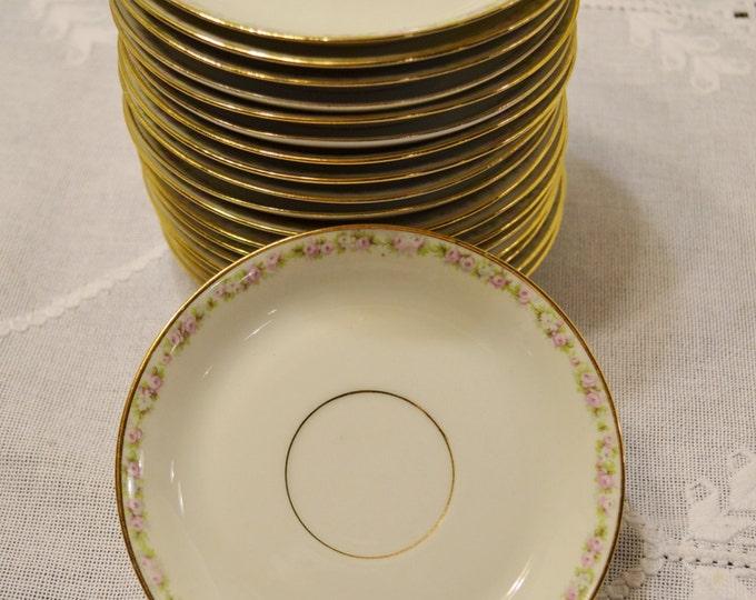 Vintage Limoges M Redon Saucer White Pink Floral Border Gold Rim France PL Antique Dinnerware PanchosPorch