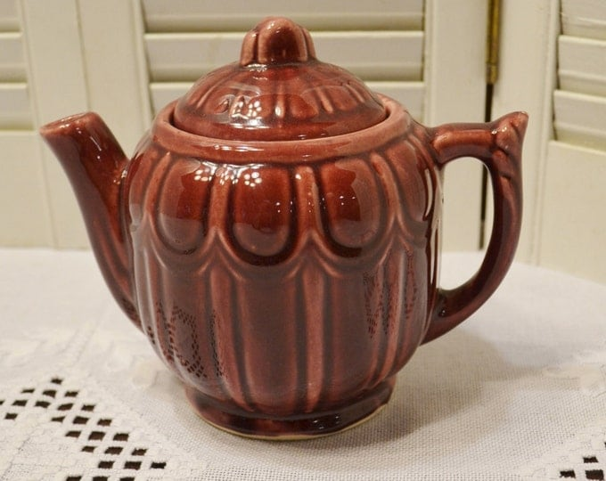 Vintage Teapot Red Pink Ceramic USA Pottery Collectible Teapot PanchosPorch