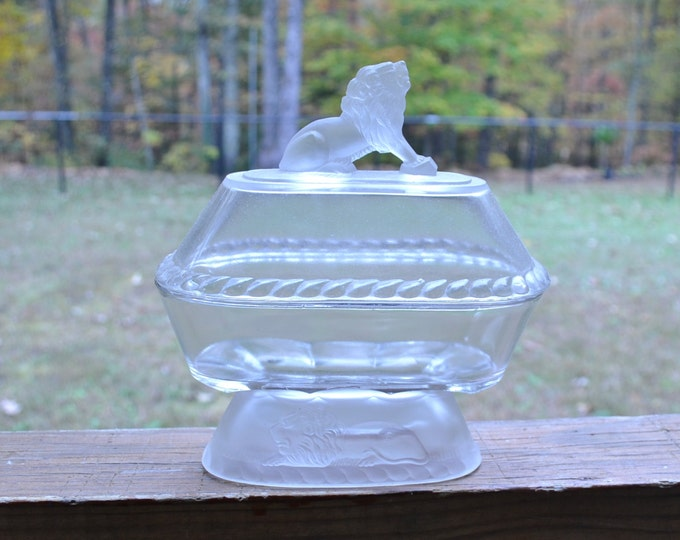 Vintage Glass Lion Covered Dish Oval Gillinder and Sons EAPG PanchosPorch