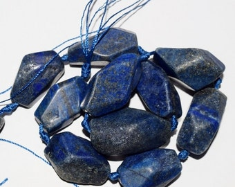 """Natural Lapis Lazuli Nuggets - approx.40-30 x 25-18 mm Gemstone Beads - Strand 16"""", 11-13 beads"""