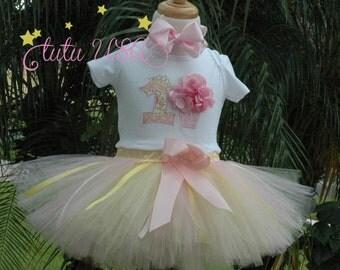 Shabby Chic Baby girl 1st birthday tutu outfit,shabby chic birthday outfit,yellow pink sparkle,flower tutu,one year old baby girl,