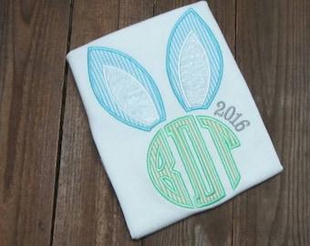 Easter Bunny Monogrammed Applique Shirt -  Easter applique shirt- Boys Easter shirt - Girls Easter shirt