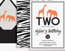 Jungle 2nd Birthday Invitation Boys Black Orange Copper Giraffe Elephant Safari Modern Geometric Printable Boy Second Zebra Print Party
