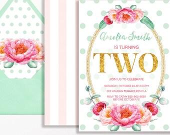 2nd Birthday Invitation Girls Floral Flowers Garden Party Glitter Pink Mint Spot Stripe Printable Digital DIY Second Milestone Peony Peonies