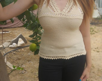 Summer knitted tank tops  for women.Cotton 100%