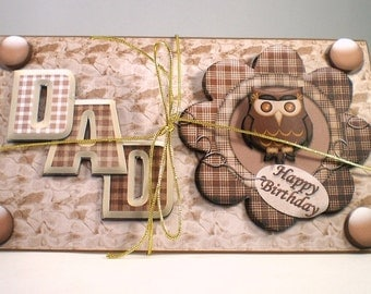Handmade 3D money wallet for Dad, owl,birthday,fathers day