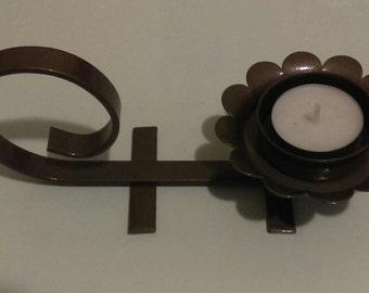 Vintage Candle Holder//Hook//Bronze//Metal//Tea Light//Hammered Look Spray Paint//Flower Look