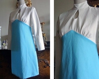 Vintage 60s Color Block Blue and White Mini Mod Space Age Dress