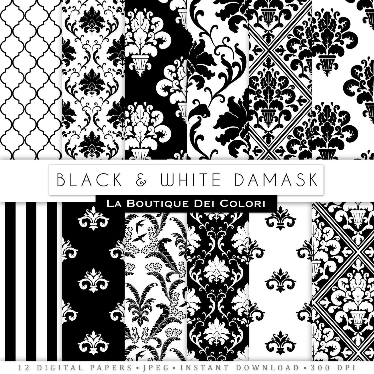 Black damask digital paper. black and white digital paper pack