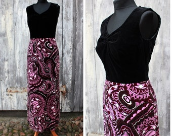 Vintage boho dress, velvet dress, long dress, black purple,60s dress, abstract pattern,psychedelic
