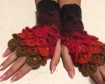 Fingerless Gloves Handmade Wrist Warmers dragon scale gloves Arm Warmers Mitts Ladies fingerless gloves lacy long mittens womens fingerless