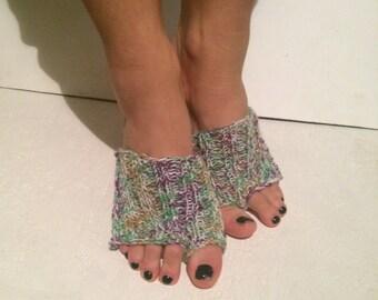 multicolor Hand Knitted Flip flop Socks Toeless Socks, Flip Flop Sox, Dance, Yoga Pilates Socks, Footwarmers, foot guards, foot savers