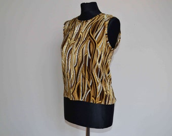 Gold yellow brown wavy abstract tank top vest