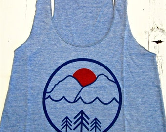 PACIFIC NW womens tank top. Pacific northwest tank top.American made.