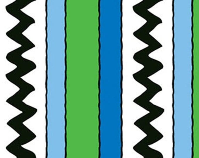 Half Yard Camp Peanuts - Stripe in Green / Royal - Charlie Brown Cotton Quilt Fabric - Quilting Treasures - 22534-GY (W3151)